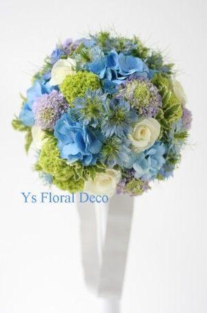 アイスブルーのドレスにあわせるブルーの紫陽花のラウンドブーケ @シェラトン都ホテル ys floral deco
