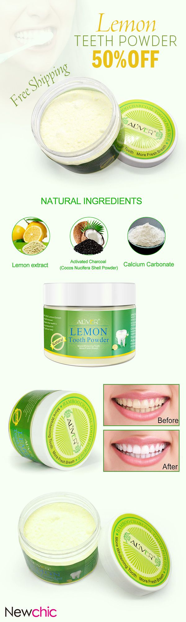 [Newchic Online Shopping] 50%OFF Lemon Teeth Powder