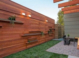 Modern horizontal wooden fence panels