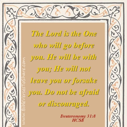 """""""The Lord is the One who will go before you. He will be with you; He will not leave you or forsake you. Do not be afraid or discouraged."""" Deuteronomy 31:8 (HCSB) – Bible Verses To Share #bible #verse #quote"""