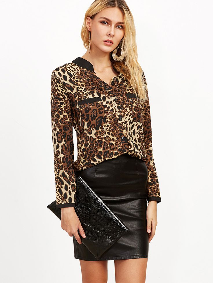 Shop Leopard Print Contrast Neck Shirt With Pockets online. SheIn offers Leopard Print Contrast Neck Shirt With Pockets & more to fit your fashionable needs.