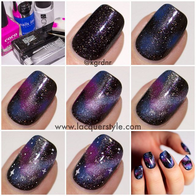 DIY Galaxy Nails fashion pretty style colorful nails nail art diy nails