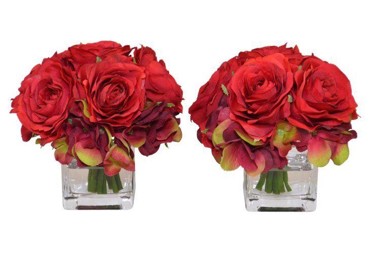 """S/2 5"""" Red Rose Arrangements, Faux"""