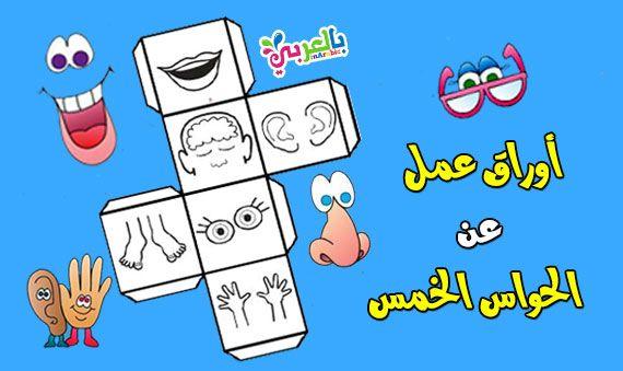 أوراق عمل عن الحواس الخمسة للأطفال جاهزة للطباعة Flashcards Cover Template Art