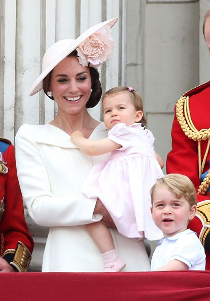 Catherine Duchess of Cambridge Princess Charlotte of Cambridge and Prince George of Cambridge attend the Trooping the Colour this year marking the...