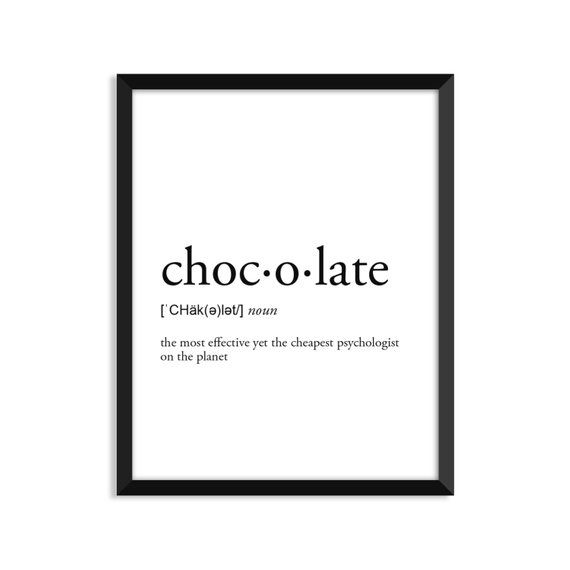 Chocolate definition, romantic, dictionary art print, office decor, minimalist poster, funny definit