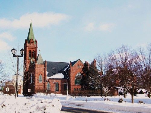 St. Peters Church in Rome, New York.  I remember kissing an old high school boyfriend up in that bell tower. :)