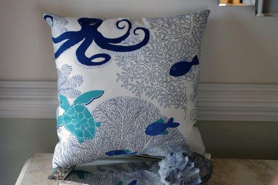 Ocean Song Throw Pillow   18x18  Octopus Sea by ByTheSeashoreDecor, $42.00