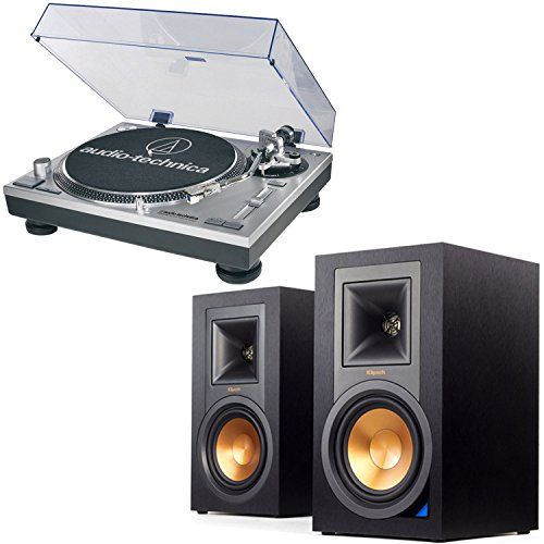 AudioTechnica AT-LP120-USB Direct-Drive Professional USB & Analog Turntable (Silver) with Klipsch R-15PM Reference Power Monitor Speakers - Pair (Ebony)