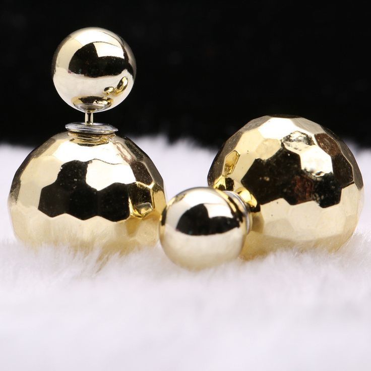 Candy Color Section Double Pearl Earring