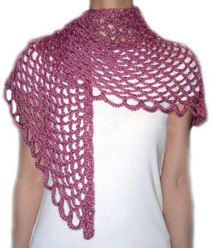 Crochet Angel Lace Scarf: The finished shape is triangular; but it can be worn in many different ways, even as a shawl!
