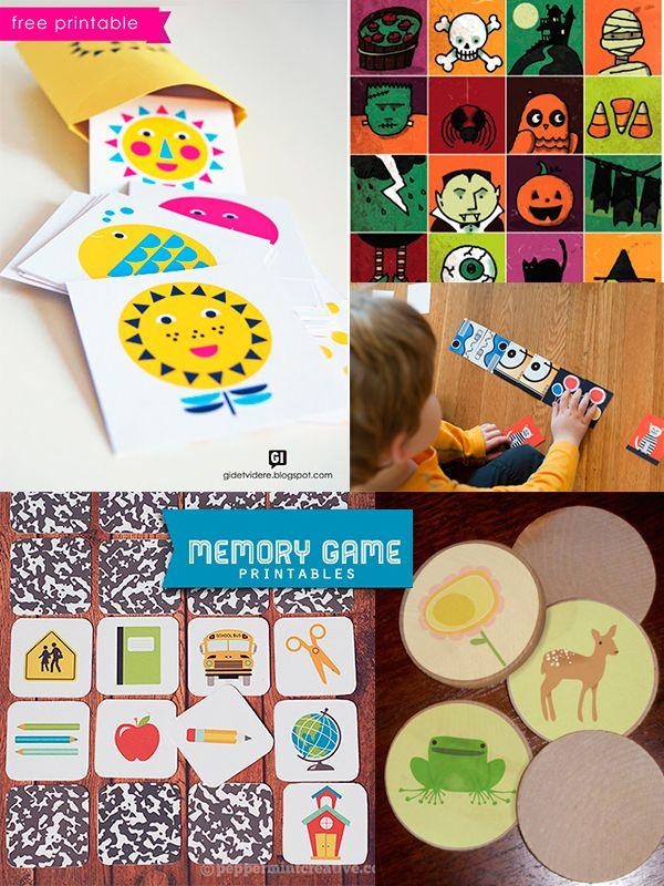 5 juegos de memoria para imprimir gratis. #manualidades #diy