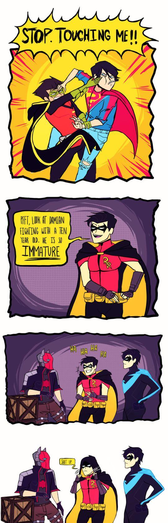 11/02/17  1:57a   DC  Wayne Manor    Damian  aka Robin  and Superboy?  Tim Drake   aka Red Robin   ''Shutup''  and Jason Todd  aka Red Hood   Dick Grayson aka Nightwing