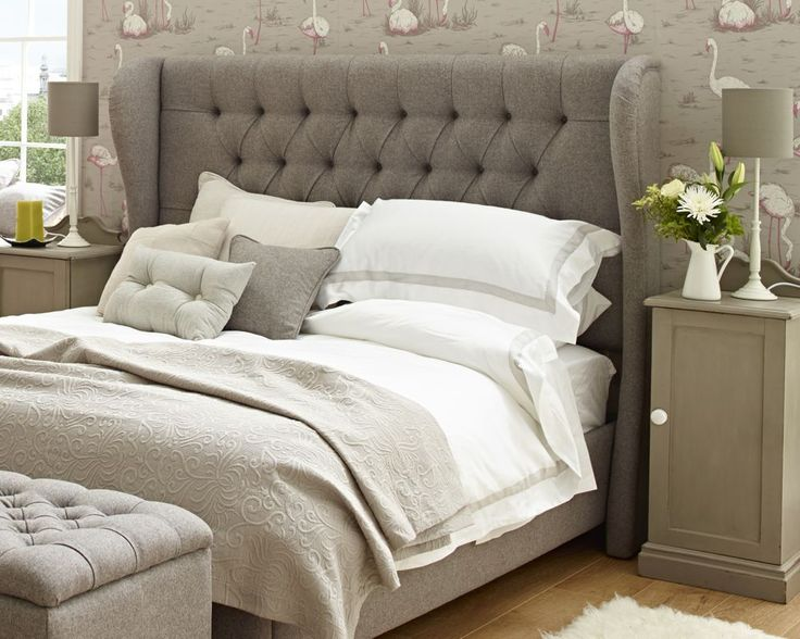 Winged Iona Super King Upholstered Headboard Wool Plain Light Grey from The Headboard Workshop