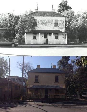 Penrith station masters house Belmore Street, Penrith in 1986 and 2015. Built in 1877/1878. [1986 - Penrith City Council/2015 - Phil Harvey. By Phil Harvey]