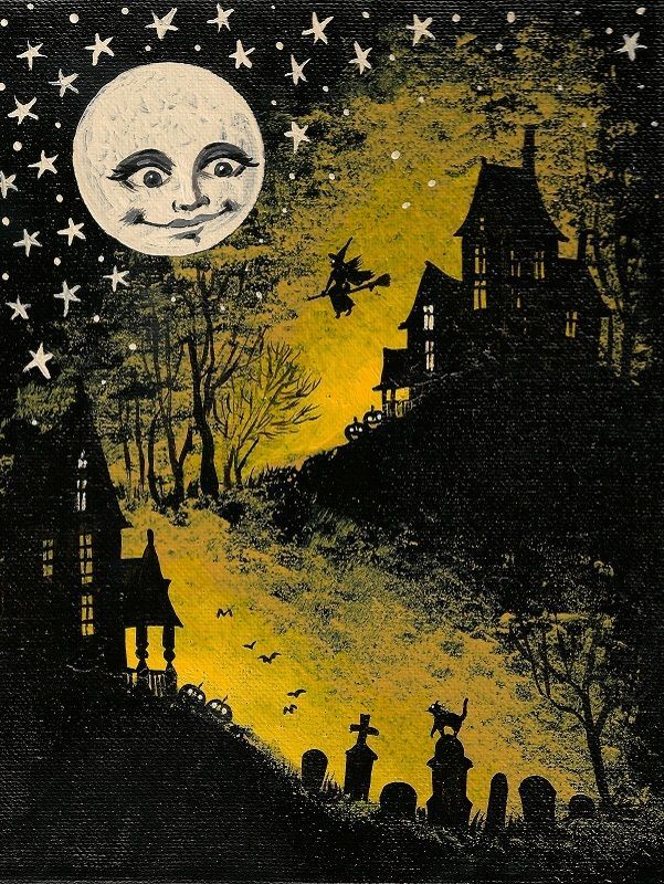 15x2 dollhouse miniature print of painting ryta 112 scale halloween witch moon - Halloween Pitures
