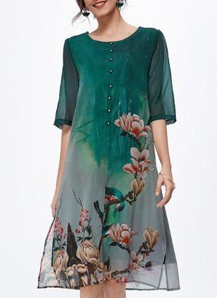 Silk Jute Floral Manga até a metade do braço Longuete Informal Vestidos de (1044496) @ floryday.com