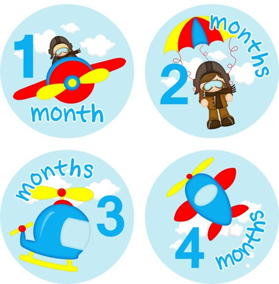 Baby Month Stickers Baby Monthly Stickers Boy Monthly Shirt Stickers Airplane Helicopter Baby Shower Gift Photo Prop Baby Milestone Sticker