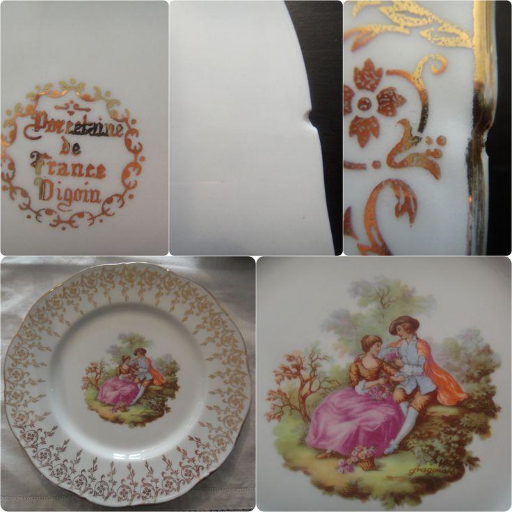Superbe Vaisselle Anglaise Ancienne #14: Assiette Ancienne Digoin, Scène Romantique, Décor Fragonard, Porcelaine Fine