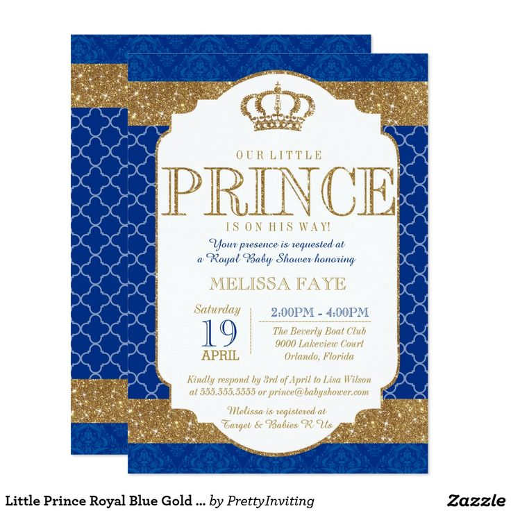 Awesome Little Prince Royal Blue Gold Baby Shower Card