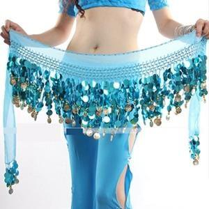 New Multi Color Chiffon Belly Dance Hip Wrap Scarf Coin Sequin Waistband Skirt Hot