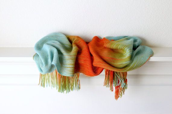 Hand woven scarf gradient color blue, red orange gold long with fringe on Etsy, £75.80