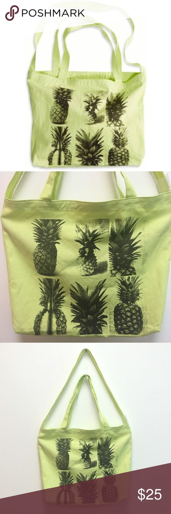 ✨FLASH SALE💫NWT Pineapple Tote Bag Yellow canvas tote bag with pineapple print. Has 3 handles so you can use it two different ways. Long strap, 2 shorter straps and an inner pocket for smaller items. Tag fell off but the plastic tag holder is still attached.   ❌ trades ❌ lowballs  👍offer button  🌟Bundle 2 or more items and save 10%🌟 American Eagle Outfitters Bags Totes