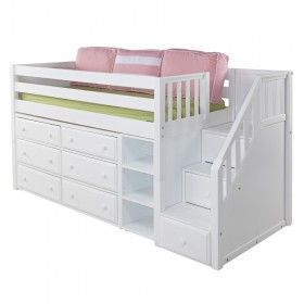 Marlowe Low Loft Bed with Dressers, Bookcase and Staircase ♥ Discover the season's newest designs and inspirations by Rosenberry. | Visit us at http://kidsbedroomideas.eu/ #furnituredesign #kidbedroom #kidsroom #kidfriendly #bedroomdecor