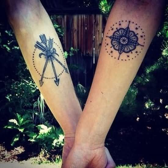 Arrows And Flower Couple Tattoos On Both Sleeve