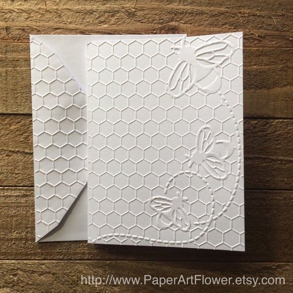 Honeycomb With Bee Card Set White Embossed Note Card Beehive