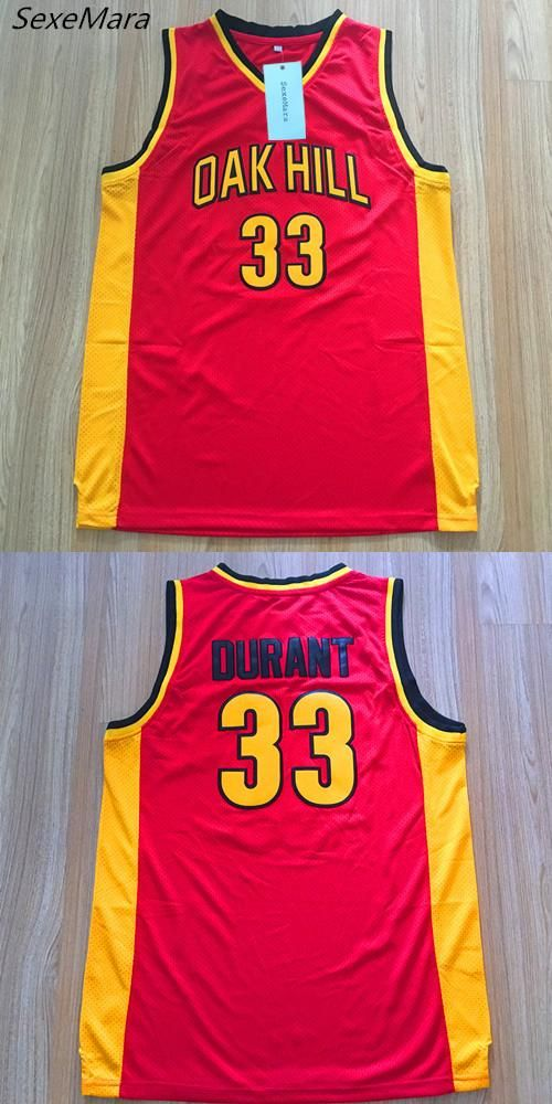 [Visit to Buy] SexeMara Mens #33 Kevin Durant Oak Hill High School Embroidered Stitched Red Throwback Basketball Jerseys #Advertisement
