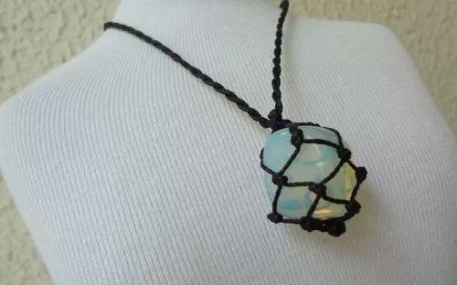 colar hippie pedra da lua castroada cordão natural style