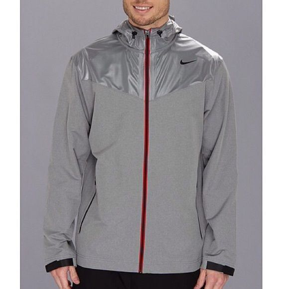Nike Sweatless Hooded Jacket Coat Discounted shipping 16% off This Nike Jacket Has got your back while you work up a sweat or maybe not. Contrast fabrication at upper bodice adds a stylish flair to this jacket. Attached three-panel hood with drawstring ties for a secure fit. Long-sleeve construction with adjustable closure at cuffs. Full front zipper closure. Zippered hand pockets provide secure storage. Straight hemline. Swoosh™ logo lands at upper left shoulder. 90% polyester, 10%…