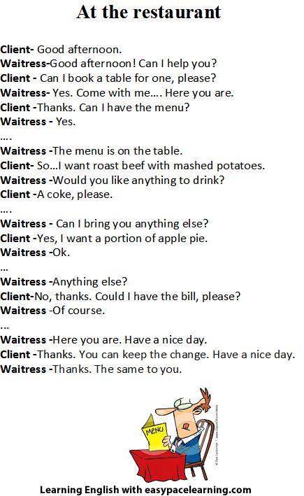 Restaurants conversation english
