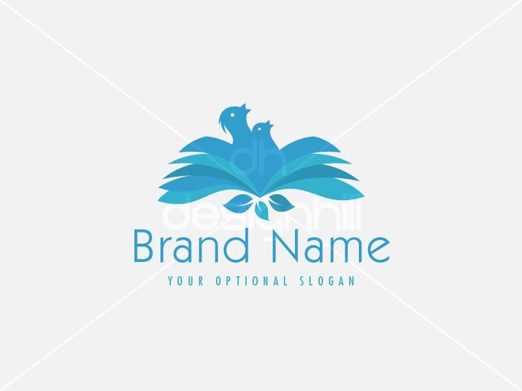 New logo design for sale on Design Hill - education, children, bird, book, nest, cub, school, leaf, hunger, life, chick, blue, memorable, simple, modern, stylized, page, paper, knowledge, wisdom, social, learning, bookstore, library, document, publishing, care, eat, social, charity, animal, distribution, share, open, logo, design, template,