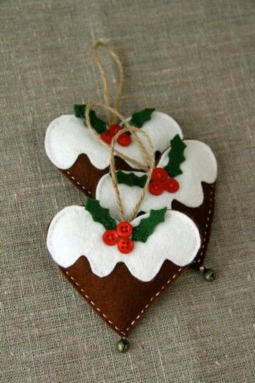 Frosted Gingerbread hearts out of felt