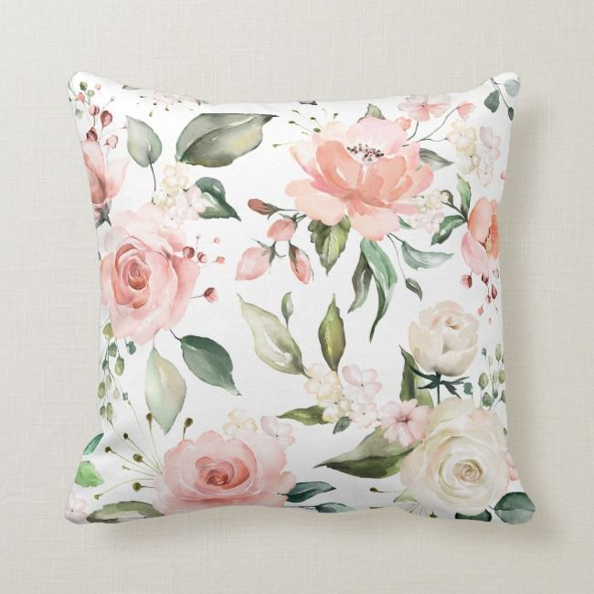 Sunny Floral Pastel Pink Watercolor Flowers Throw Pillow Zazzle