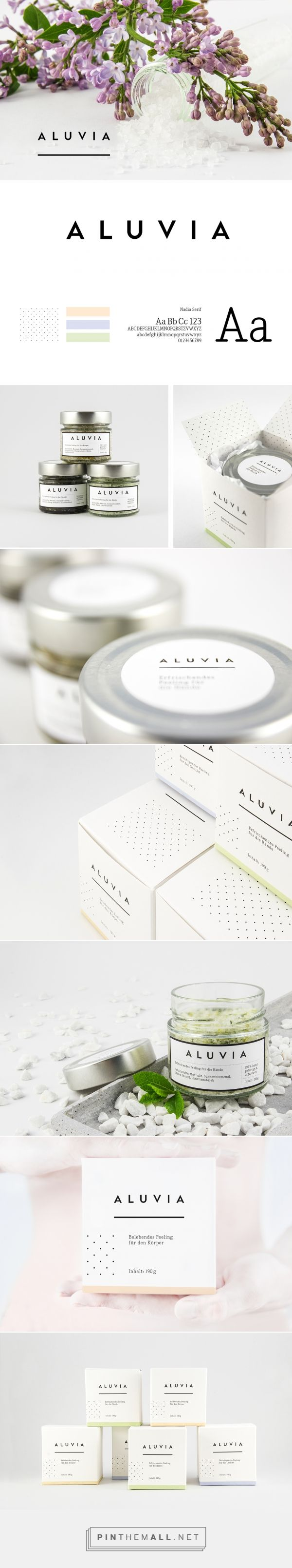 Aluvia on Behance by Christian Pannicke Berlin, Germany curated by Packaging Diva PD. A purely fictional concept for high-quality, hand-crafted, natural exfoliants for the body. Too bad it's not real packaging.