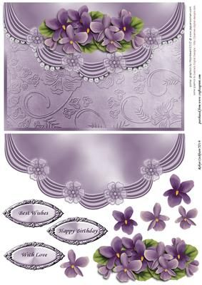 "Vintage Violets Faux Envelope Card Front on Craftsuprint designed by Robyn Cockburn - A lovely card front with draped satin and pearls around the ""envelope"" flap. Easy to make and suitable for many occasions. - Now available for download!"