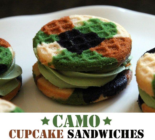 Camo cupcake sandwiches