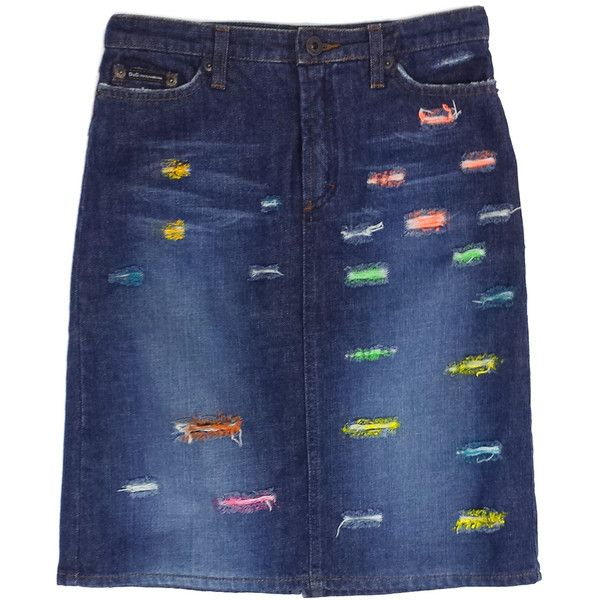 Pre-owned Dolce & Gabbana Blue Denim Distressed Pencil Skirt (220 BAM) ❤ liked on Polyvore featuring skirts, distressed skirt, knee length pencil skirt, button skirt, button-front denim skirts and blue skirt