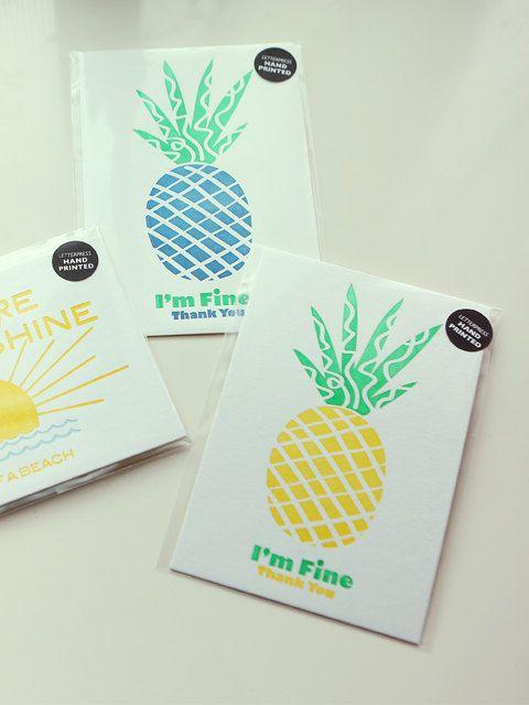 I'm Fine Thank you letterpress postcard by studiosmalls on Etsy
