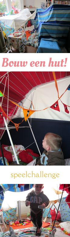MizFlurry: Bouw een hut! (Speelchallenge dag 2)  Grote hut in de huiskamer gebouwd met onder andere dekens, kussens, wasrekken en knijpers, als onderdeel van een speelchallenge.