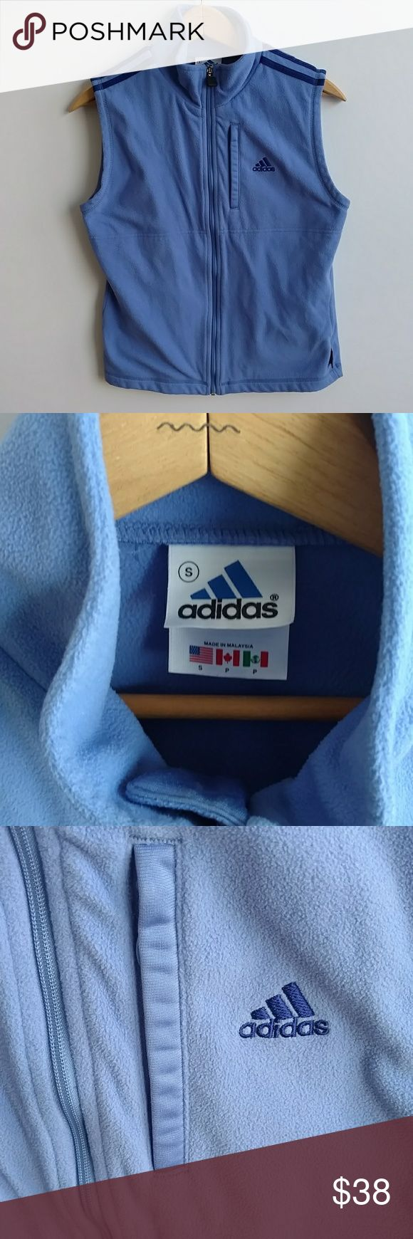 """Adidas Climawarm Small Periwinkle Color Zip Vest Adidas Climawarm periwinkle color zip front vest. Size Small. 100% microfiber polyester. 2 front pockets on the right and left lower half of the jacket and then a 3rd pocket on the front left just to the right of the logo (this is a zip pocket.) This is a great vest that super comfy and a great addition on a cold day! Lay flat measurements: Chest: 35"""" Shoulder: 14.25"""" Length: 21.5"""" Questions? Just ask! adidas Jackets & Coats Vests"""