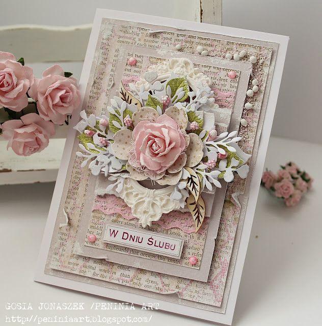 """""""Wszystko   zaczyna się od miłości...""""   R.Brett   ***   Dziś karteczka na ślubną okazję w pięknym delikatnym różu   z papierów Studio75..."""