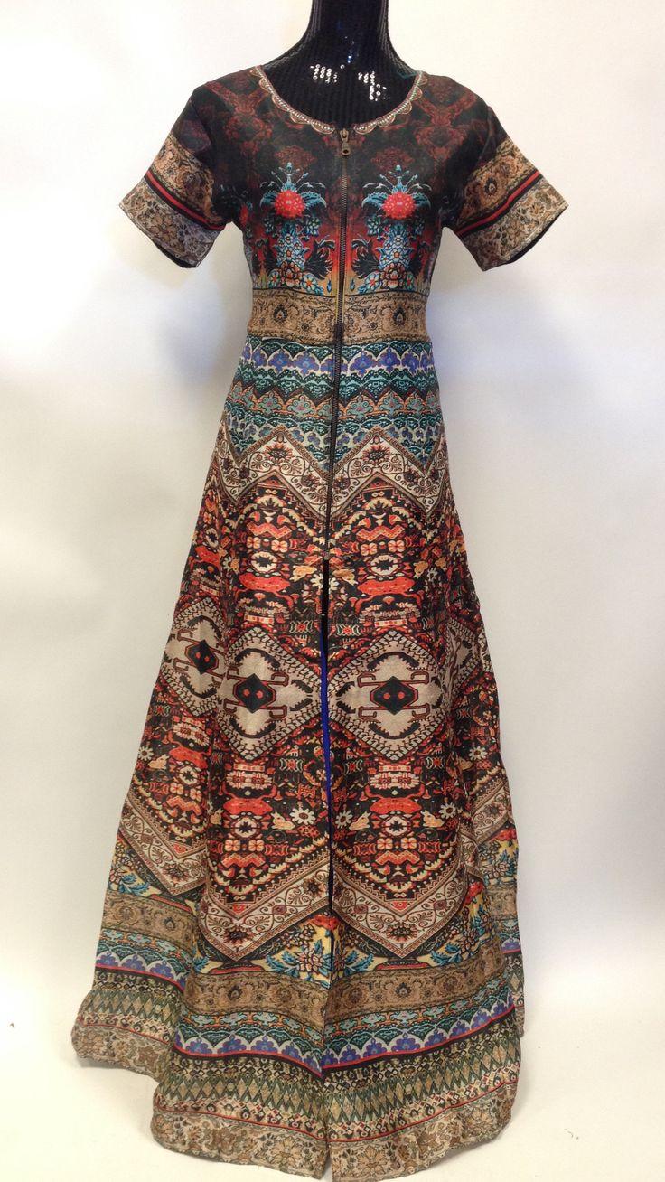 Long Digital Print Dress in Silk with Jacquard Leggings
