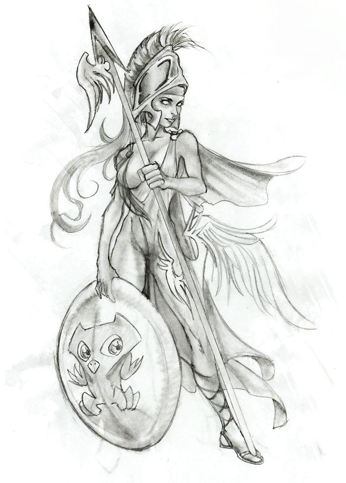 Greek mythology Tattoo, Athena, goddess of planning, wisdom and strength.