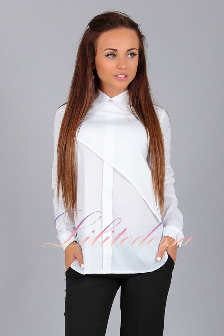 """Купить Рубашка асимметрия белая. блузки и туники женские от """"LILITоdessa —…"""