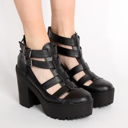 Ark Black Poina Chunky Cut Out Boots   ARK Clothing. Going to snag these stems for the summer/fall 2014.