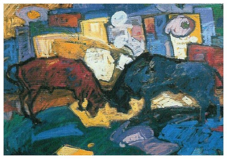 Boga guresi / Combat Des Taureaux /  Fighting Bulls - Oil on canvas-1989-50x70cm